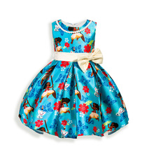 Fashion Girls Dress With Pearl Necklace Children Friday Cartoon Printing Ocean Princess Kid Sleeveless Clothes Princess Dresses(China)
