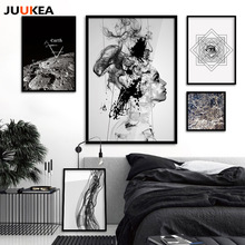 Cuadro Original Fashion Black White Geometric Eyes Planet Canvas Painting Posters Wall Picture For Living Room Nordic Wall Decor