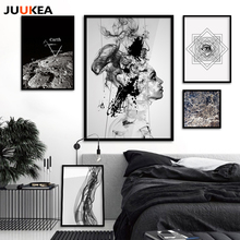 Cuadro Original Fashion Black White Geometric Eyes Planet Canvas Painting Posters Wall Picture For Living Room Nordic Wall Decor(China)