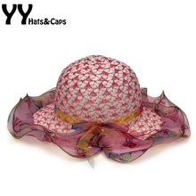 Beautiful Straw Cap Gilrs Sun Hat With Wide Brim Chiffon Summer Beach Cap Top Fashion Toddler Children Sun Visor Hat YY17043(China)