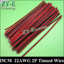 30PCS/lot 25cm 22 AWG LED CABLES 2pin wire Red black thinned copper wire for single color strip light LED wire Free shipping
