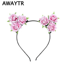 AWAYTR Girls Hair Accessories Flower Headband 2017 White Rose Flower Cat Ears Hairbands Kids Handmade Cloth Floral Hair Bands(China)