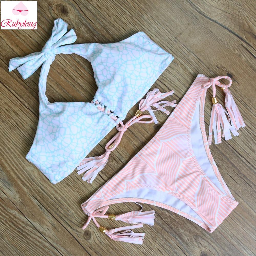 2016 Women Sexy Low Waist Push Up Halter Bikini Ladies Strappy Cute Swimsuits Bathing Suits Swimwear Summer Hot Bikini Sets<br><br>Aliexpress