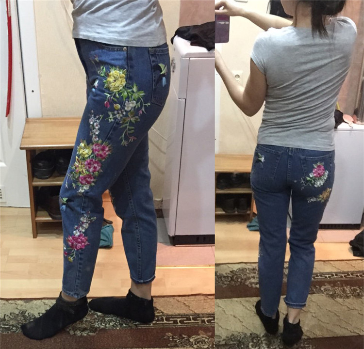 2018 Women's Three-dimensional 3D Heavy Bird Flower Embroidery High waist Slim Straight jeans Large yards (11)