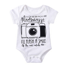 Cute Newborn Baby Girls Boys Short Sleeve Cotton Bodysuit Jumpsuit Casual Clothes Camera(China)