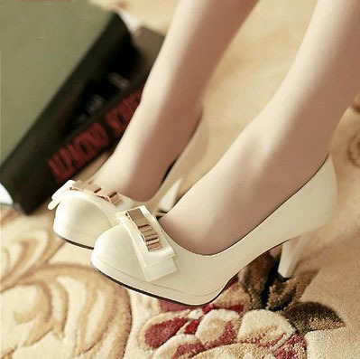 2017 Spring New Casual PU Pumps Women Shoes Blue Beige Sweet Princess Bow Large Size 40414243 High Heels Womens Shoes ZK3.0<br><br>Aliexpress