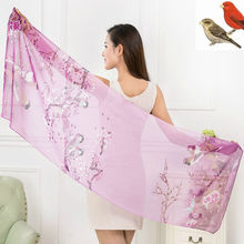 Fashion Beach Towels Prevented Bask In Shawls Printed Birds Chiffon Scarves Beautiful Scarf Women