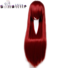 S-noilite 80cm 32 inches Long Straight Wig Heat Resistant Synthetic Hair Party Cosplay Wigs Red Purple Pink Black Blonde(China)