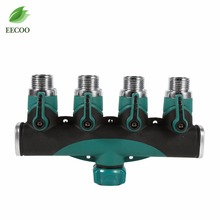 3/4 Inch Garden Hose 4 Way Splitter Water Pipe Faucet Shut-off Valve Connector US Standard Thread Agricultural & Commercial Use