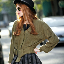 autumn new fashion all-match color belt deep V collar sweater cardigan coat female short wave