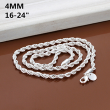 4MM width, 16inch-24inch Silver Rope Chains Necklace, silver fashion jewelry, high quality, free shipping