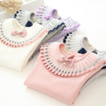 2017 Spring Baby Girls Shirts Long Sleeve Children Clothing pleated Bow Collar Lace Patchwork Girl Blouses Kids Clothes 3-8years