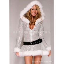 Silver christmas dress woman Christmas Snow Maiden costume for women sexy costumes women sexy santa costumes for women disfraz(China)