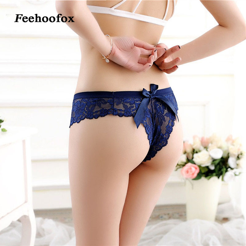 Hot sale! Newest Women G String women's sexy Lace underwear panties Solid transparent bow Hollow briefs Thongs