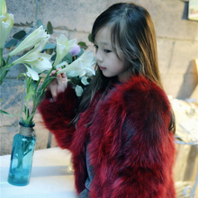 Thick warm winter coat girls short raccoons Ramanja all jackets children's clothing red coat fur coat clothing