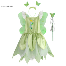 Charmian Tinkerbell Princess Halloween Costume for Costume Cosplay Lovely Kids Green Fairy Fancy Dress Party Carnival Clothing(China)