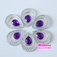 50pcs/bag 13*18mm Droplet Sew On Rhinestone Resin Sew-on Strass Flat Back Sewing stones for Dress Decoration B3106
