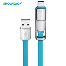 SHOWKOO 2in1 USB Type-C Cable USB 3.1 TypeC USB C Cable and Micro USB Data Sync Charge Cable for Macbook Xiaomi 4c Oneplus 2