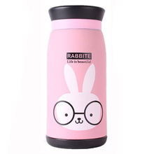New Arrival Cartoon Thermos Cup Bottle Stainless Steel Thermo cup Vacuum Thermal Mug 260ml Funny Gift-Pink Rabbit