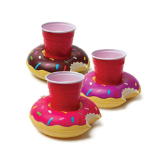 12Pcs/lot Unqiue Party Supplies Donuts Inflatable Water Floating Cup Holder Drink Coke Stand Swimming Bath Pool Can Party Toys
