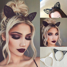 Cute Women Girls Black wire Bunny Costume Party Rabbit Hair Ear lace Bow Headband(China)