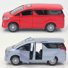 Alloy Alphard car model, MINI Bus Scale 1/32 16Cm Pull back and return power with light and music 4doors,
