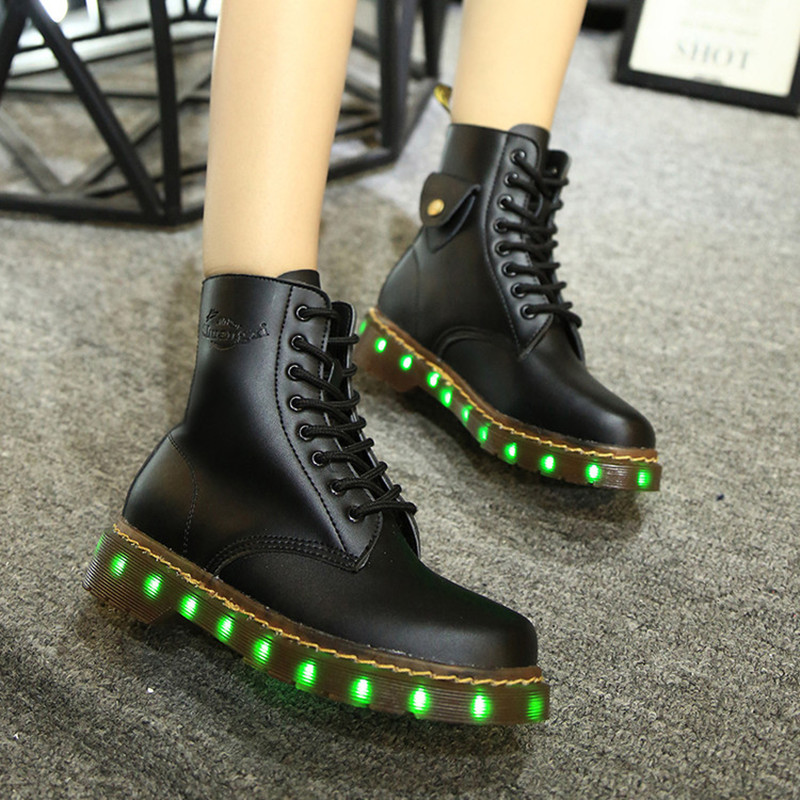 2017 Unisex Light Shoes Led Ankle Boots Riding, Equestrian Usb Flat  Led Luminous Women Glowing Brand Pu High Top Shoe Sales<br><br>Aliexpress