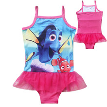 Cute Nimo Infants character dress baby Girls one piece Swim Bow wear Kids Bathing Children dress summer dress(China)