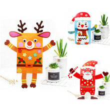 3PCS/Lot.DIY Christmas paper hand puppets craft kit Early educational toys Creative toys Kindergarten crafts Wholesale OEM