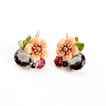Shiny Gold Color Fresh Earring 2015 Summer New Arrival Bohemia Glass Enamel Flower Earring Accessories Feminine(China)