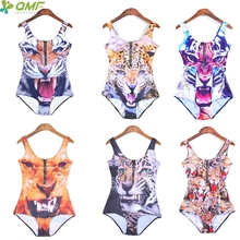 Animal One Piece Swimsuits Women's Golden Tiger Brazilian Biquinis High Waist Leopard Swimwear Sexy Push Up Beachwear Zip Fromt
