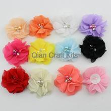 20pcs mixed colors Petite Chiffon Pearl Flower for diy Headband Photo Prop - Perfect for Newborn Baby - Little Girls Hair Bow