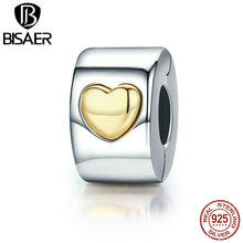 BISAER Brand Hot Original 925 Sterling Silver Stopper Classic Heart Clip Charms Fit Pandora Necklaces & Bracelet EDC116