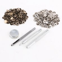 25pcs silver + 25 pcs bronze 10mm Snap Button Metal + tool set for leather handbags(China)