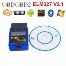 2017 Vgate ELM327 Bluetooth V2.1 OBD Scan Tool Mini ELM 327 OBDII OBD2 CAN-BUS Diagnostic Scanner For Android Torque Windows(China)