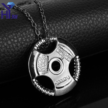 HEYu Train Hard or Go Home Barbell Pendant Dumbbell Stainless Steel Necklace Sporty Style Fitness Crossfit Gym Male Jewelry
