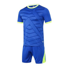 2017 new blank DIY men survetement football jerseys sets mesh breathable soccer team training suits quick dry uniforms design XL(China)