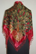 Free Shipping Red Women's Triangle Velvet Silk Beaded Embroider Shawl Scarf Peafowl WS-070