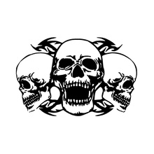 34.7*22.8CM Personalized Custom Triple Skull Car Stickers Interesting Motorcycle Vinyl Decals Black/Silver C7-1088(China)