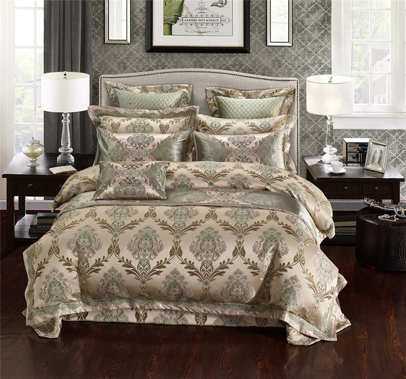Luxury Bedding Set, Silk Satin Jacquard Bedding Set, Queen, King, Duvet Cover,Bed Linen Flat Sheet Set 15