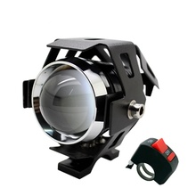 1Pcs LED U5 Motorcycle Projector Headlight  High Power 125w CREE Chip 3 Modes 3000LM Motorbike Head Fog Lamp with Switch