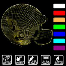 Baseball cap Arizona Cardinals 3D LED night light 7 color changing Night Lamp remote control or touch switch as gift IY803655-4(China)