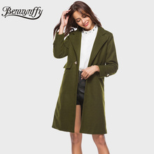 Benuynffy Wool Blends Winter Coat Women Ladies New Arrival Army Green Woolen Overcoat Female Casual Mid-Long Turndown Coat W230(China)