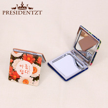 PU Metal Mirrors Makeup Notebook Design Portable Flower Pocket Mirror Colorful Fold Double Sides Personalized Compact Mirror