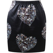Womens Heart Diamond Mini Skirt 2015 New Design Fashion Winter High Waisted Stylish Digital Print Jewelry Short Skirts for Woman