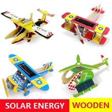 Solar Energy Powered Education Toys little Gift For Children Wooden Airplane 11 Styles for Choice Safety Material DIY Decoration(China)
