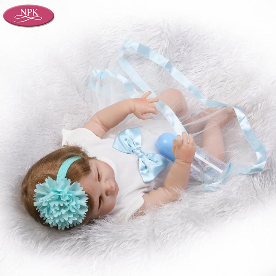 NPK 57CM Full SIlicone Vinyl Body Reborn Babies Children Bathe Doll Toys Lifelike Real Baby Girl Realista Bebe Reborn Bonecas (3)
