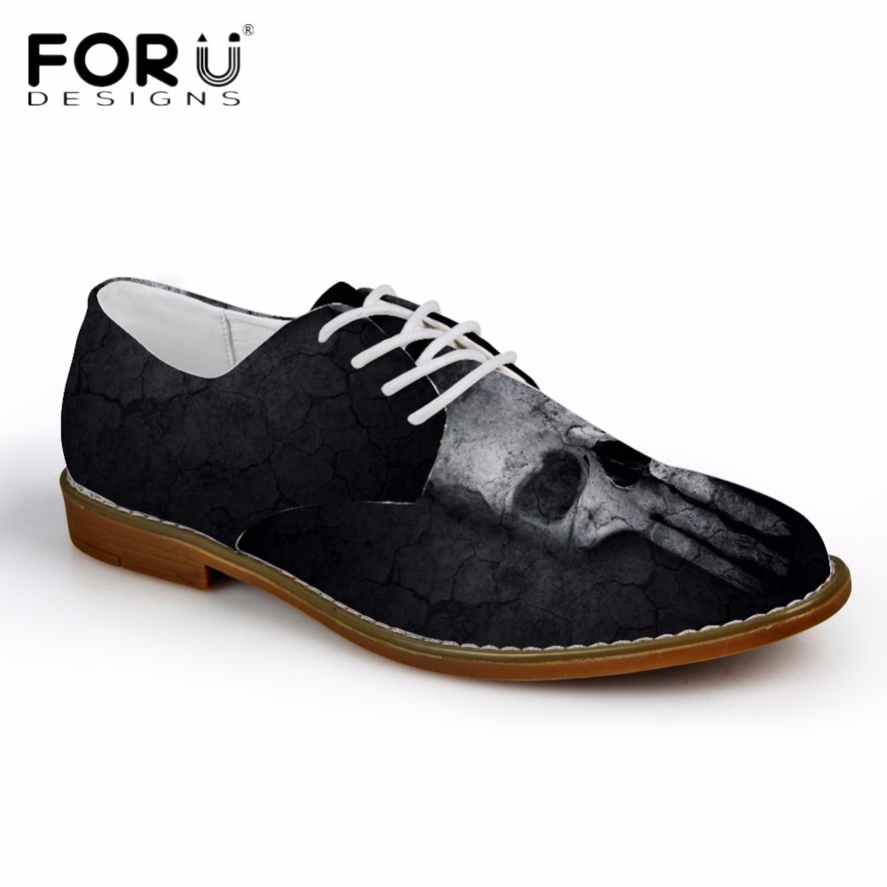 FORUDESIGNS Black Cool Men Oxfords Shoes Casual Synthetic Leather Fashion Skull Pattern Mens Business Oxfords Shoes for Man  <br>