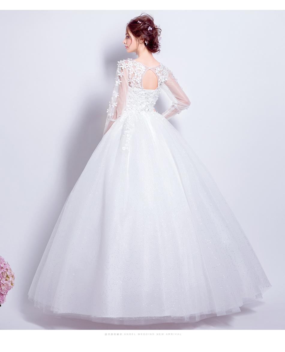 Angel Wedding Dress Marriage Bride Bridal Gown Vestido De Noiva 2017 Sweet, lace, flowers, long sleeves, 6011 14