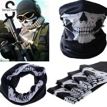 Hot Sale Multi Function Ski Sports Motorcycle Biker Scarf Men Women Cool Skull Design Adults Half Face Mask Sports Headband(China)